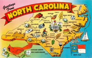 LPM29 North Carolina Map Chrome Postcard The Tar Heel State