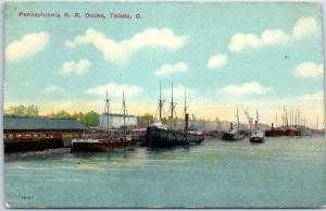 Toledo, Ohio Postcard Pennsylvania R.R. Docks Waterfront Scene 1910s *TRIMMED