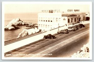 San Francisco California~Cliff House & Seal Rocks~Cars in Front~1940s RPPC
