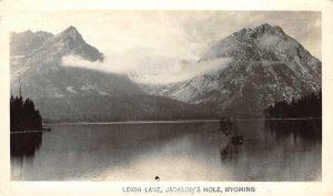 RPPC LEIGH LAKE Jackson's Hole, WY Grand Teton Park 1947 Vintage Photo Postcard