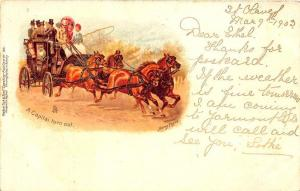 Early 1903 Raphael Tuck Stage Coach Coaching Card #196 Postcard