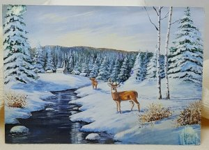 Winter Scene Deer Vintage Postcard