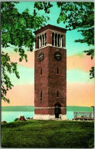 LAKE CHAUTAUQUA New York Postcard Miller Memorial Bell Tower HAND-COLORED