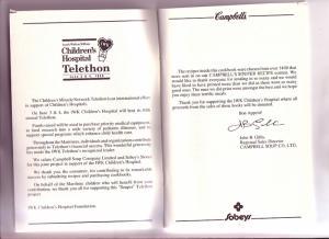 Cambell's Sobeys Recipes, IWK  Hospital Halifax, Nova Scotia 1989