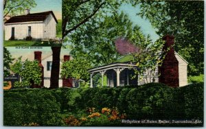 Tuscumbia, Alabama Postcard Birthplace of Helen Keller House View Linen c1940s