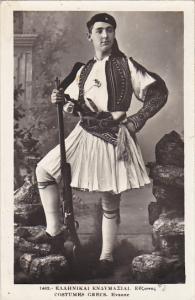 Greek Soldier In Uniform 1938 Real Photo