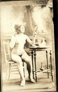 Nude Woman at Vanity c1920 Real Photo Postcard EARLY AZO REPRINT