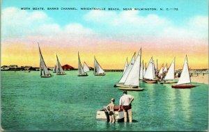 Vtg Postcard Wrightsville Beach NC North Carolina Moth Boats Banks Channel
