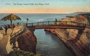 The Bridge, Sunset Cliffs, San Diego, California, Early Postcard, Unused