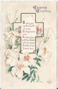 White Easter Lilies and Vase on Christian Cross Springtime EASTER Greeting