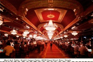 Nevada Reno MGM Grand Hotel Black Jack Tables In World's Largest Casino