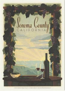 Postcard of Sonoma County California Wine Vineyard Travel Poster Style Postcard