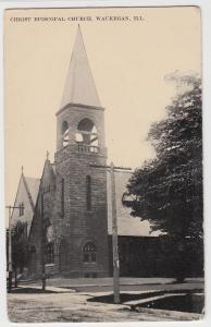 c1910 WAUKEGAN Illinois Ill Postcard CHRIST EPISCOPAL CHURCH