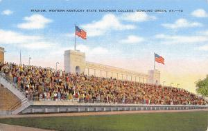 Bowling Green~Western Kentucky University~Football Stadium 1940s Linen Postcard