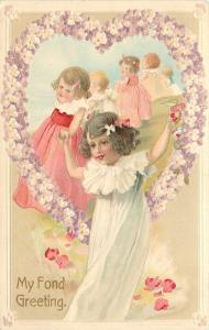 Chain Of Lil Girls~Hold Hands~Thru Lavender Flower Heart Portal~Emboss~Germany