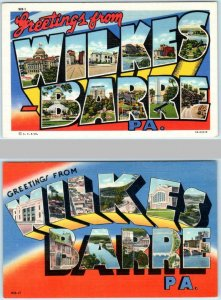 2 Large Letter Linen WILKES BARRE, PENNSYLVANIA  PA Curteich, Mebane  Postcard
