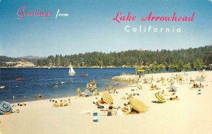 LAKE ARROWHEAD, CA Beach Scene San Bernardino Mountains c1950s Vintage Postcard