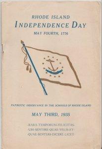 Rhode Island Independence Day. May 3, 1935 RI Schools Program