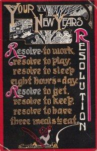 NEW YEAR, PU-1914; Six Resolutions, Country Scene