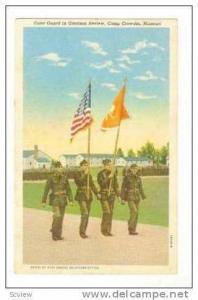 Color Guard in Garrison Review,Camp Crowder,Missouri,30-40s