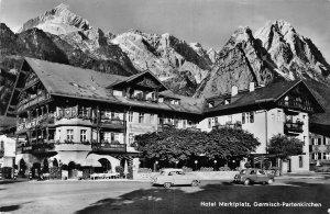 Garmisch Partenkirchen Hotel Marktplatz Pension Vintage Cars Postcard