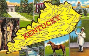 Kentucky~State Map~The Blue Grass State~1960 Postcard