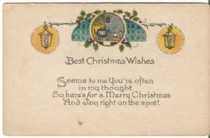 Lamp and Swags Horse and Carriage Horse and Buggy Vintage Postcard Christmas