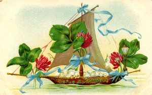 Greeting -  General, Floral with Boat      (embossed)