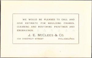 PHILADELPHIA PA - J E MCCLEES & CO - 1910s era ADVERTISING CARD / Art work +