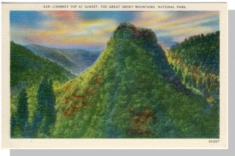 Smoky Mountains Nat'l Park,Postcard,NC/TN,Chimney Top,Nr Mnt