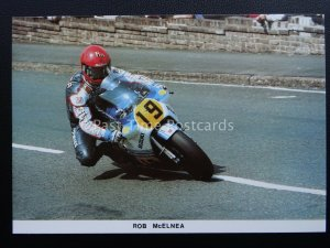 Isle of Man T.T. Races ROB McELNEA AT MAY HILL, RAMSEY c1984 Postcard by Mannin