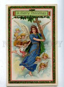 185498 X-MAS Christmas Winged ANGEL Bible Vintage Colorful PC
