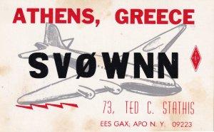 Athens Greece QSL Aircraft Greek Plane Radio QSO 1970s Card