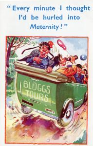 Joe Bloggs Taxi Tours Fat Lady Alcoholic Tramp Comic Old Postcard