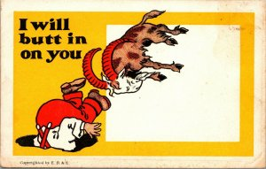 Vintage 1910s Comic Animal Postcard Goat Head I Will Butt in On You UNUSED