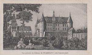 Chateau De Picquigny France French Old Antique Painting Portrait Postcard