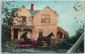 Vintage RPPC Postcard B. NEUENKIRCH House / Horse Cart ARCOLA Tinted Photo