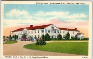 Myrtle Beach, South Carolina Postcard LAFAYETTE MANOR Hotel View Linen c1940s