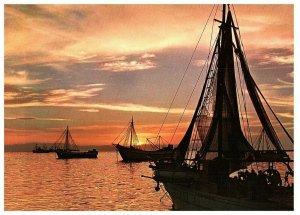 Crépuscule dans Le Thermatic Gulf De Salonique & Macédonien Carte Postale 4 x 6