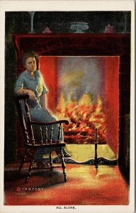 'All Alone' Woman Fireplace Fireside Series 806 TP & Co. Unused Postcard F36