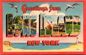 New York Long Island Greetings Large Letter Linen