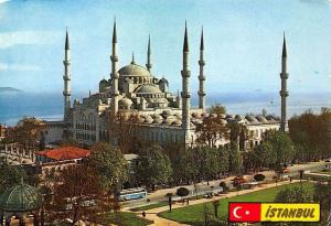 Turkey Istanbul The Blue Mosque Busses Cars General view