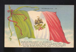 THE MEXICAN FLAG MEXICO FLAGS VINTAGE POSTCARD
