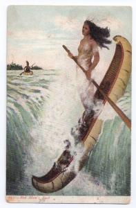 Red Man's Fact Niagara Falls NY UND Maiden Canoe