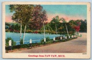 Postcard MI Paw Paw Scenic Greetings From Paw Paw Michigan Linen U03