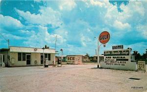 1950 Gulf Gas Station pumps Lake Rosalie Lodge Marina Vacation postcard 10855