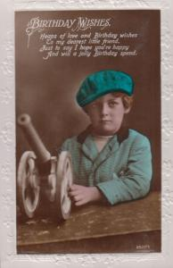 Boy With Toy Military Tank Antique Happy Birthday Greetings Postcard