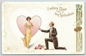 Valentine~Lovely Lady Strolls From White Heart~Gent on Bended Knee~1910 Wessler