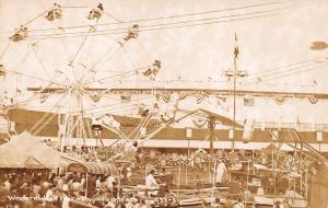 Puyallup WA Western Washington Fair Ferris Wheel Rides Real Photo Postcard