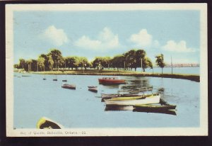 P1530 vintage used postcard old boats harbor bay of quinte belleville ontario